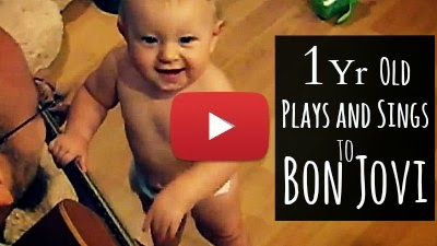 Watch 1 year old Baby Girl Sydney sing and dance to the tunes of Bon Jovi's Popular Hit 'Wanted Dead of Alive' with her Father on Guitar via geniushowto.blogspot.com funny baby videos