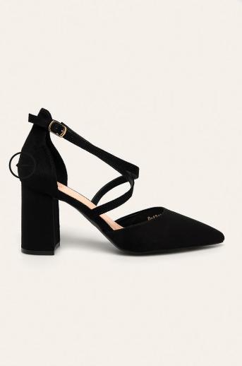 Pantofi dama decupati negri cu toc gros din piele intoarsa eco