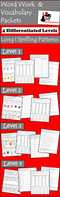 Free long I spelling and vocabulary packet with four differentiated levels from Raki's Rad Resources.