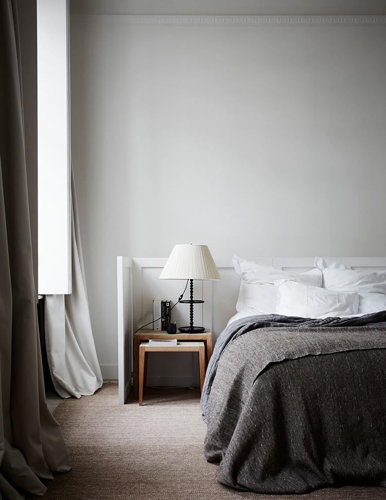 Modern rustic bedroom. Photo by Paul Massey. Image via Living Etc