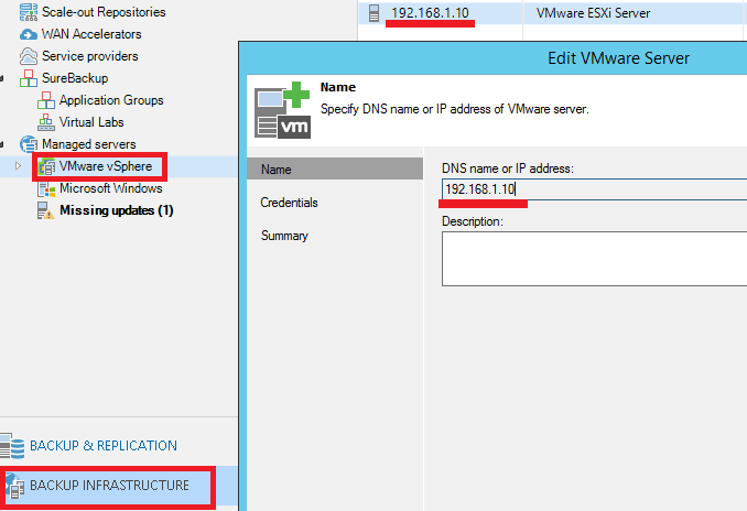 Veeam Backup: Cambiar IP ESXi / Virtual Center | SYSADMIT