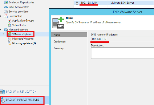 Veeam Backup: Cambiar IP ESXi / Virtual Center