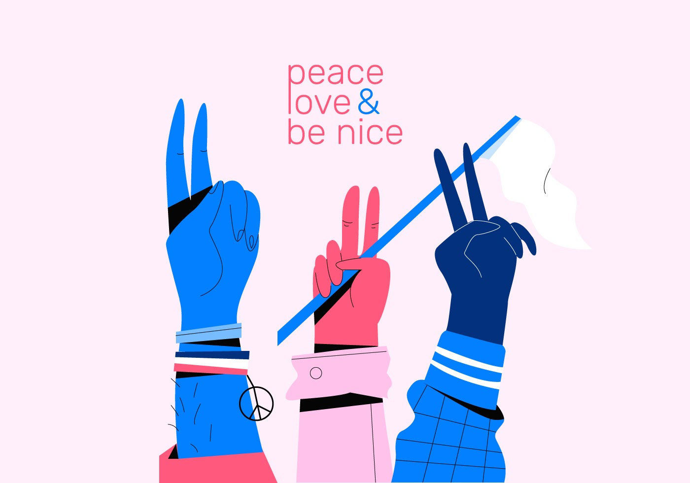 Hands Up Symbol Peace And Love Vector Flat Illustration Free Vector