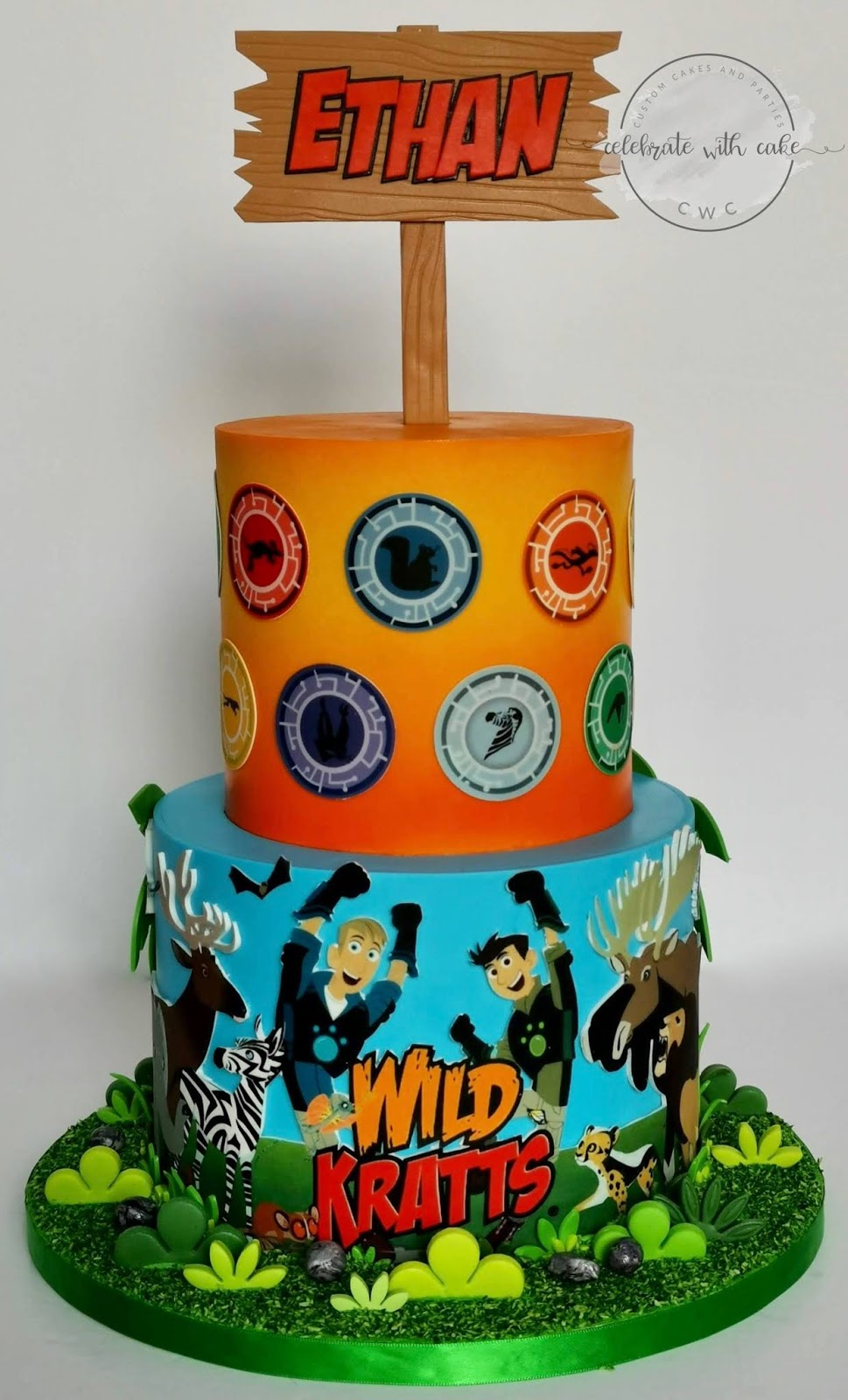 Excellent Celebrate With Cake Wild Kratts Themed 2 Tier Cake Personalised Birthday Cards Akebfashionlily Jamesorg