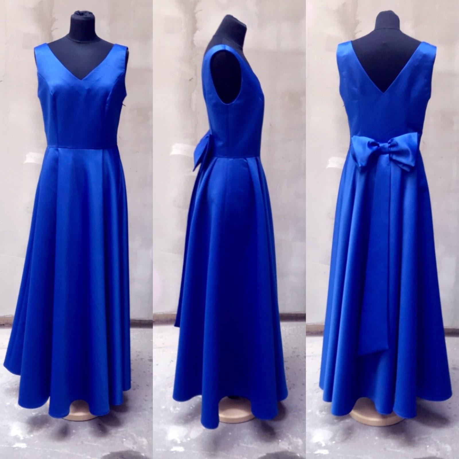handmade: modré spoločenské šaty s veľkou mašlou // stylingové tipy