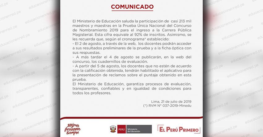 COMUNICADO MINEDU: Sobre los Resultados de la Prueba Única Nacional del Concurso de Nombramiento 2019 (Ficha Óptica con Respuestas y Cuadernillos de Evaluación) www.minedu.gob.pe
