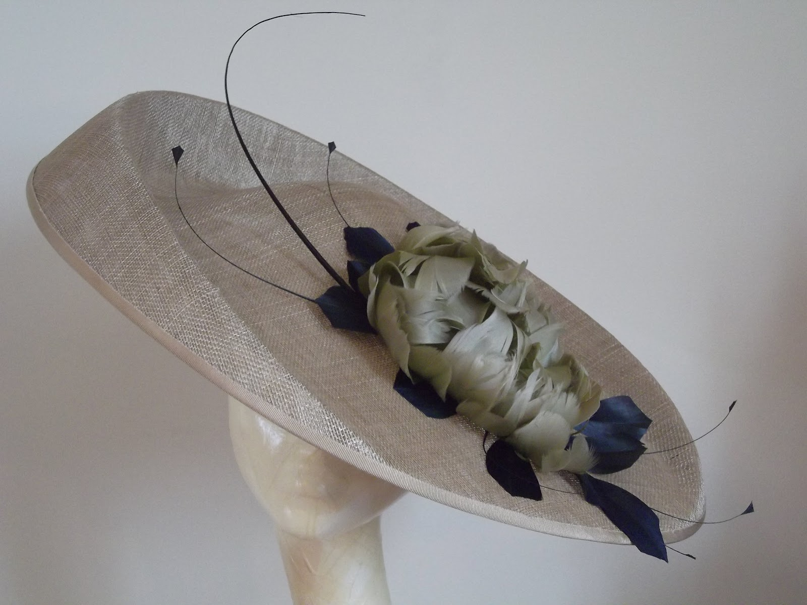 This Large Pale Bronze Taupe Saucer Hatinator Fascinator Hat with 3  Vintage Feather Roses and Navy Blue Leaves is on it s way to Houston 233e1d7989d