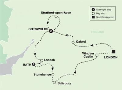 mapa da região de Costwolds