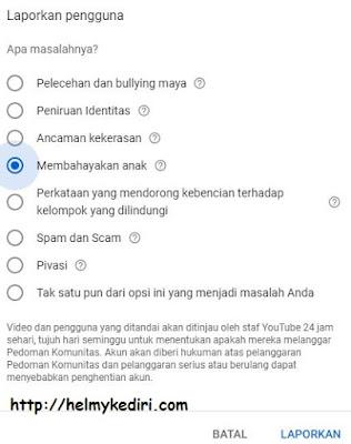 Cara melaporkan channel youtube 1