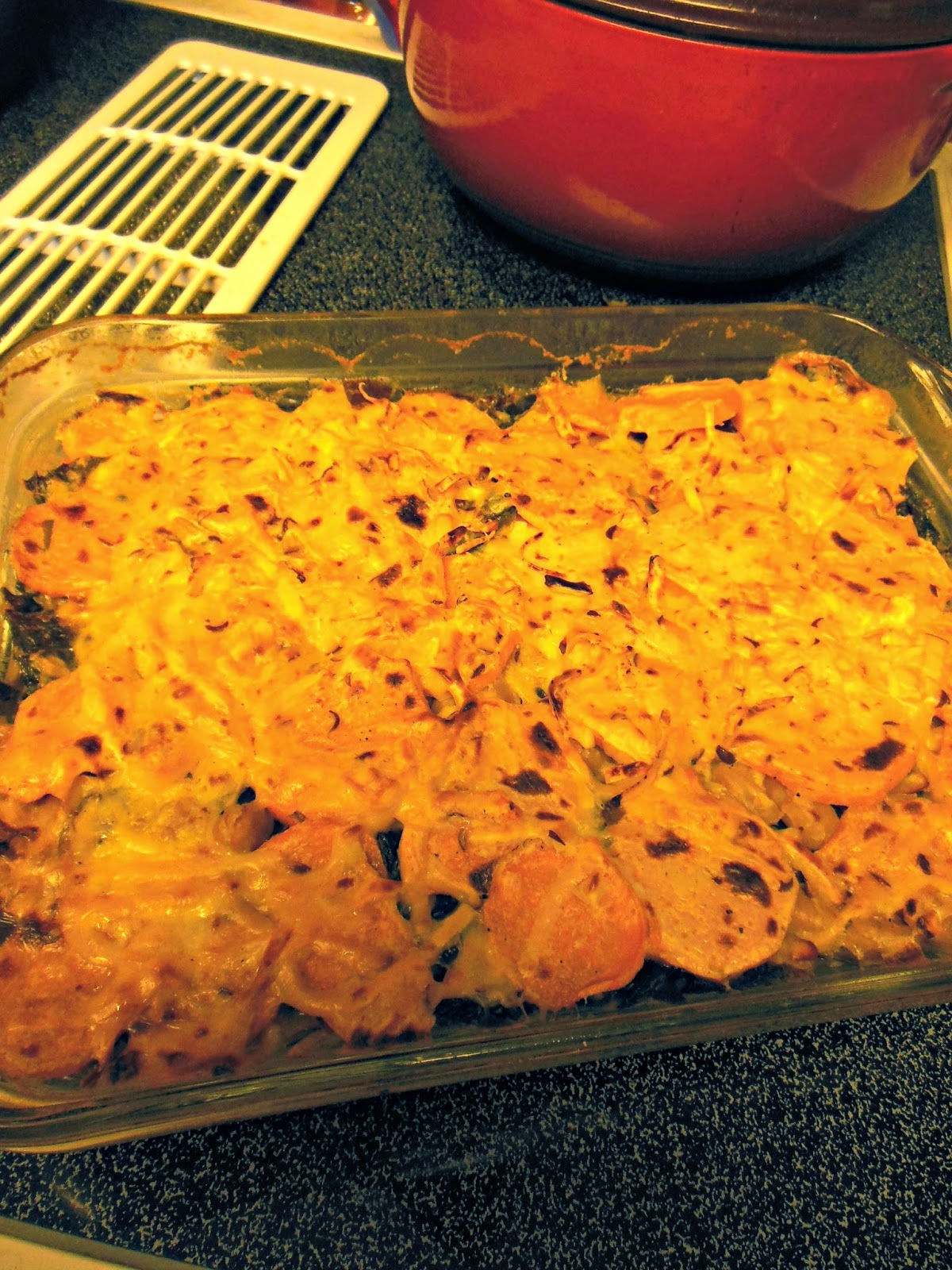 Chard White Bean Sweet Potato Gratin, perfect for a meatless entree.