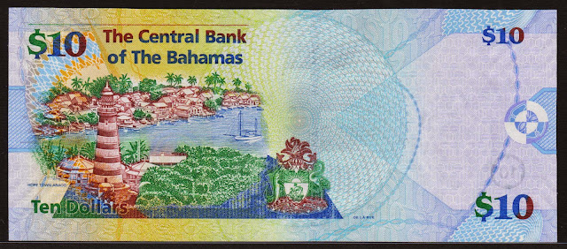 Bahamas money currency 10 Dollars banknote 2005 red and white striped lighthouse in Hope Town