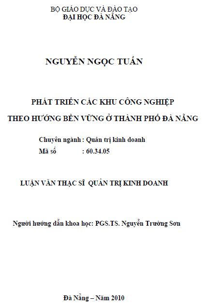 Phát triển các khu công nghiệp theo hướng bền vững ở thành phố Đà Nẵng