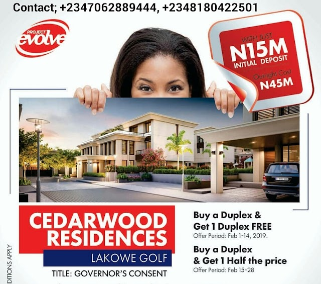 CEDARWOOD RESIDENCES, LAKOWE, LEKKI AJAH, LAGOS ( HOUSE FOR SALE)