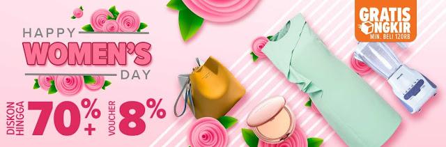 #Lazada - #Promo Happy Women's Day Diskon Hingga 70% + Ekstra 8% + Gratis Ongkir