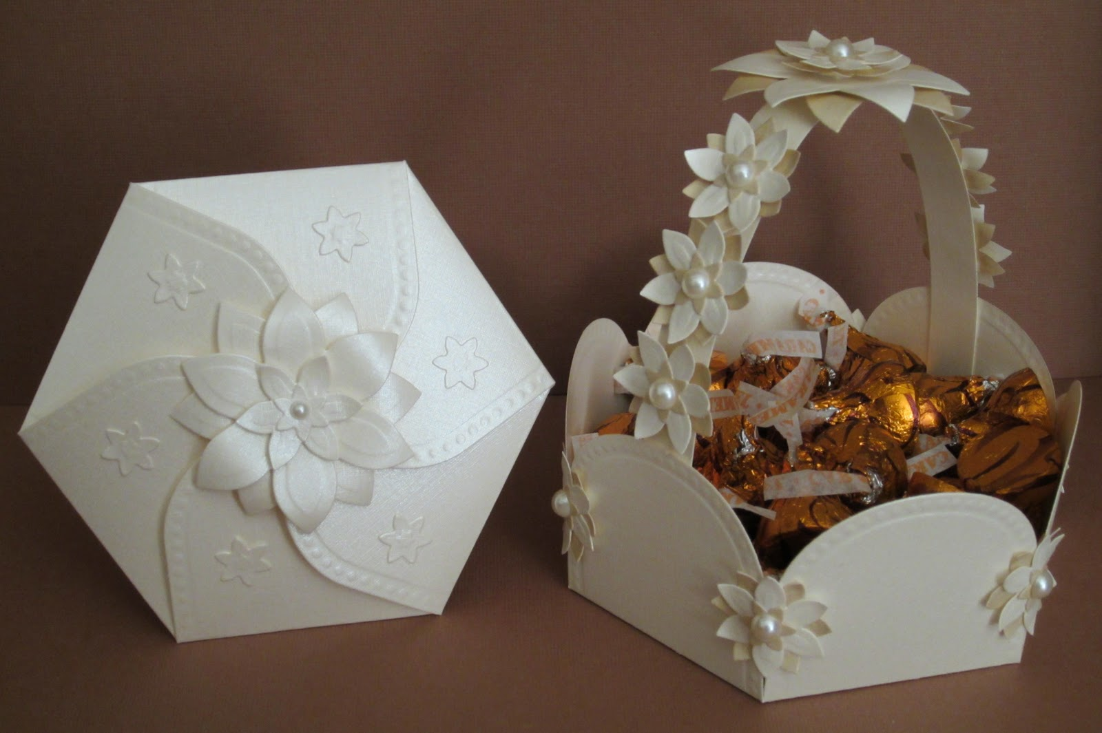 designsmarisa hexagon petal envelope and basket ensemble