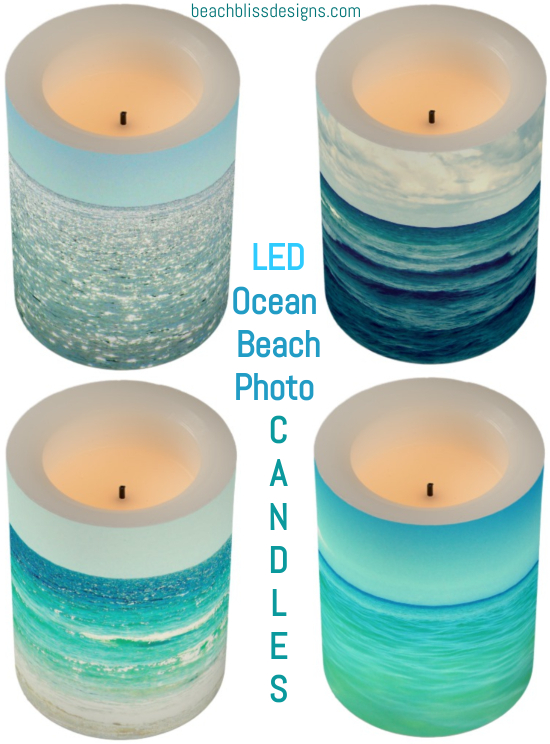 LED Ocean Beach Photo Candles