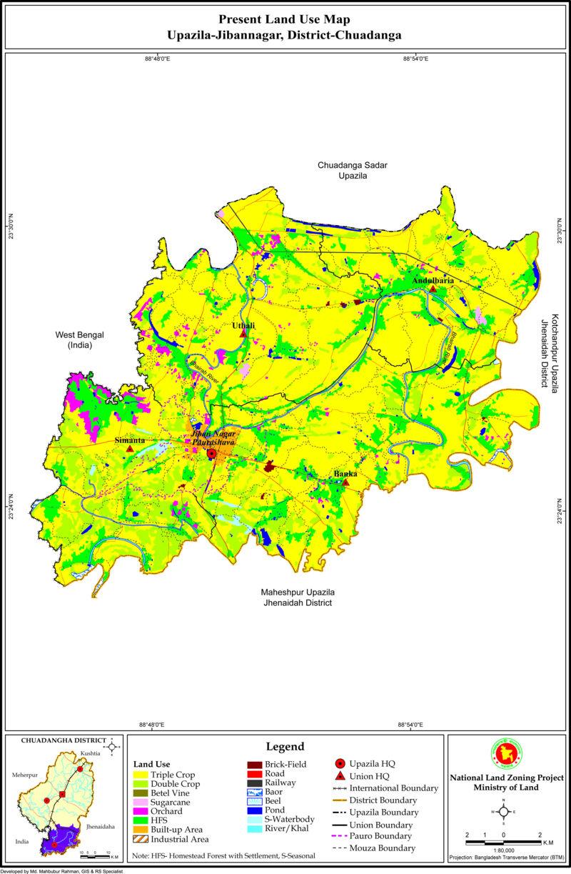 Jibannagar Upazila Land Use Mouza Map Chuadanga District Bangladesh