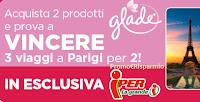 Logo Concorso ''Vinci Parigi con Glade''  acquista e vinci uno dei soggiorni per 2 persone