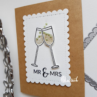 champagne stamp card, wedding card, Jane's doodles cheers stamp card, quillish