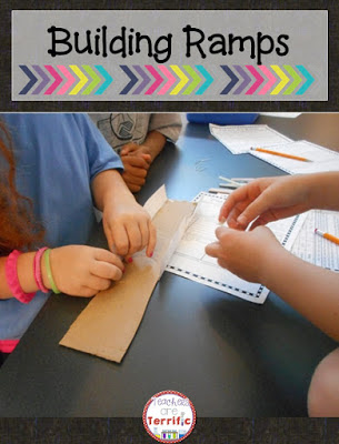 STEM Challenges: Collaboration in action. Take a look at all the hands engaged in building! It's a ramp challenge and this sample is featured on my blog as part of a Summer STEM series!