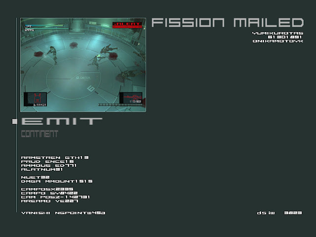 Metal Gear Solid 2 fission mailed game over screen