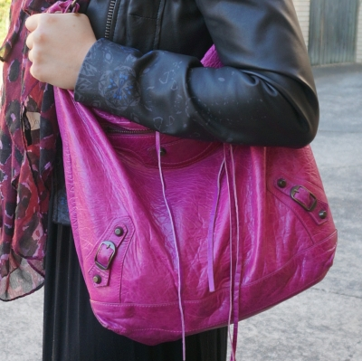 black leather jacket, Balenciaga Day bag in 2005 magenta | Away From The Blue