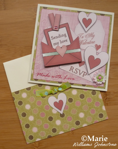 Card and matching envelope made with free printables