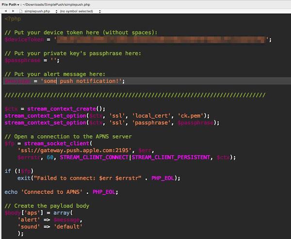 iOS 作業系統下實作推播服務的範例程式,林姓網友提供