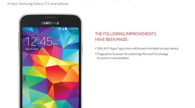 Verizon Galaxy S5 Update version G900VVRU1BOD5 now comes