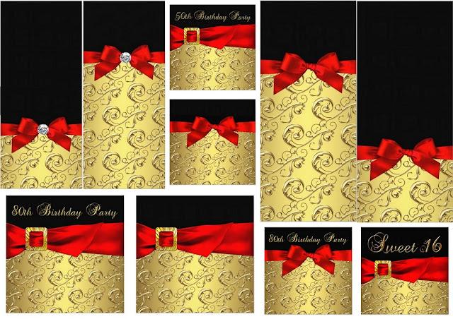 Dorado, Negro y Lazo Rojo: Mini Kit para Imprimir Gratis.
