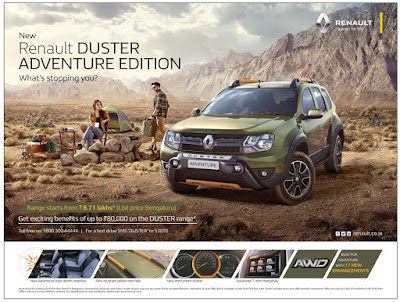Renault Duster Adventure edition with exiciting benefits | October 2016 Diwali Daseehra festival discount offers