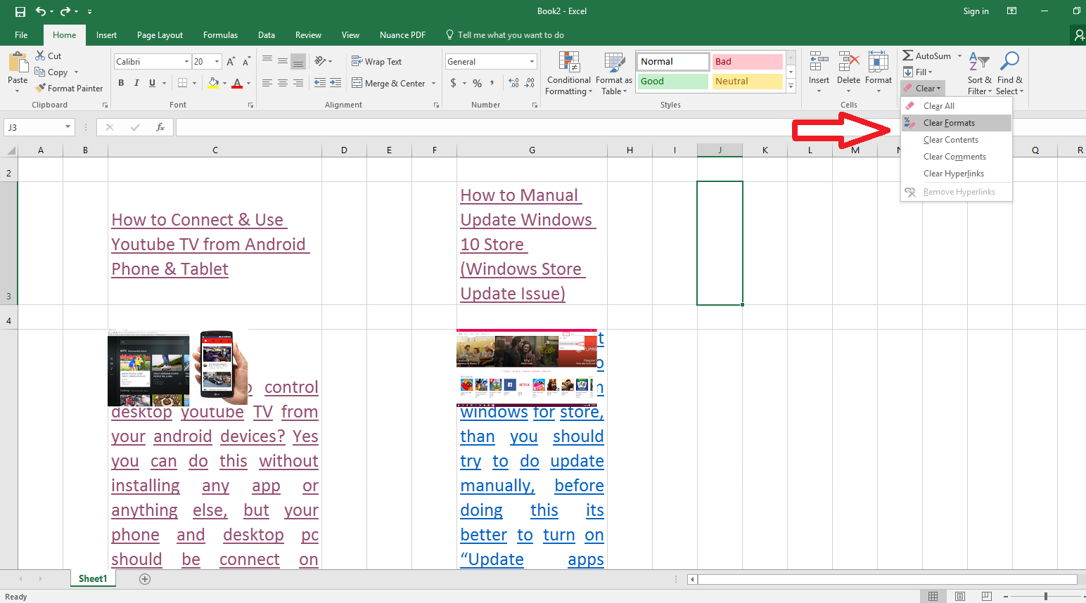 Learn New Things How To Clear Excel Sheet Text Format Underline Color Hyperlink Comments