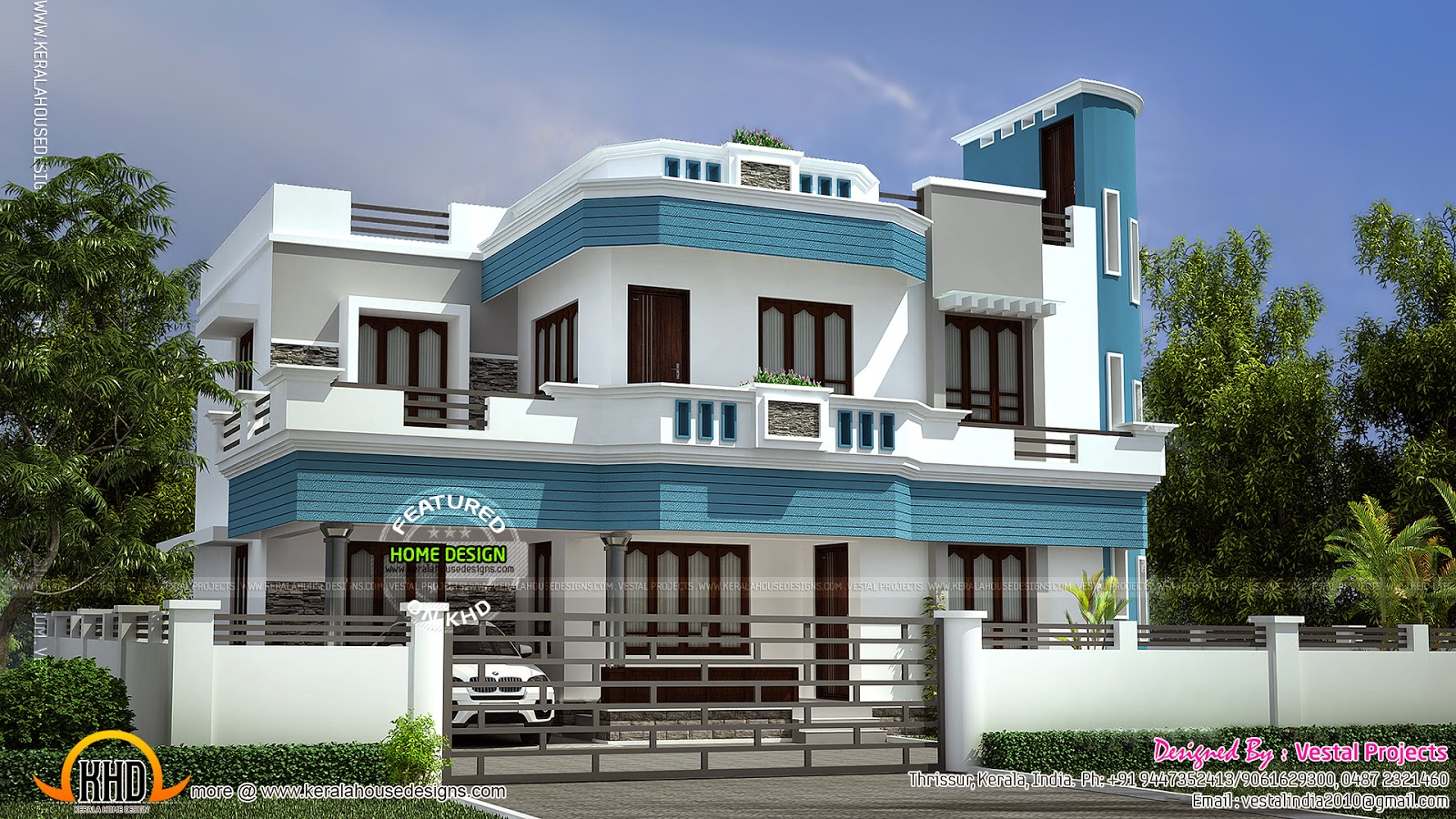 Awesome house by Vestal Projects  Kerala home design and floor plans