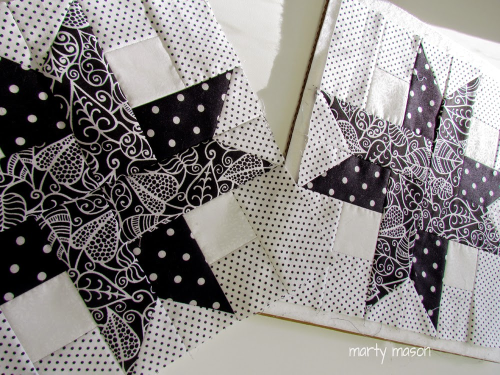"12 1/2"" black and white star quilt blocks"