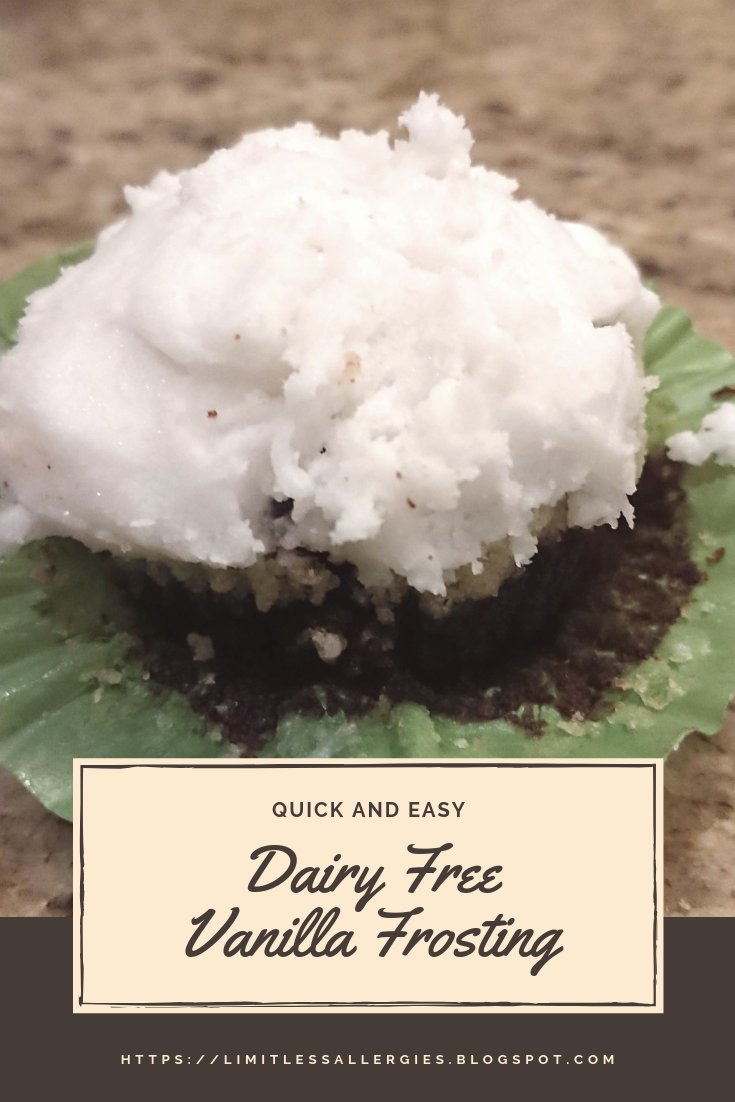 pin image for dairy free vanilla frosting