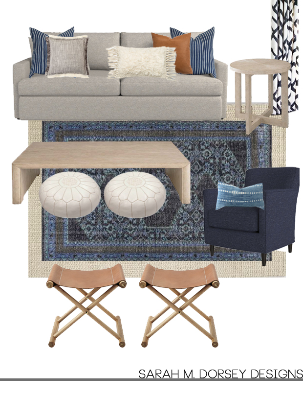 Spectacular Option is similar but adds a darker wood tone in the coffee table and bench in lieu of the cognac leather