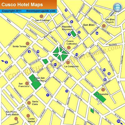 Mapa do centro de Cusco