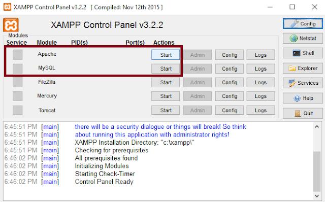 program aplikasi xampp vers 3.2.2