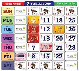 Kalendar Februari 2019