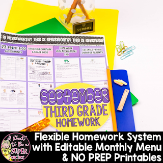 https://www.teacherspayteachers.com/Product/Third-Grade-Homework-September-20-NO-PREP-Printables-Editable-Homework-Menu-834099
