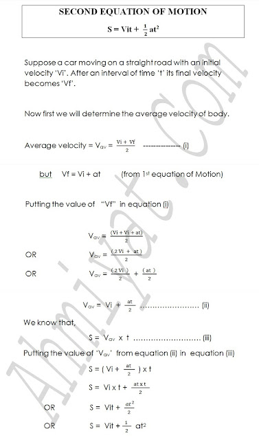 SECOND EQUATION OF MOTION S = Vit +  1/( 2) at2