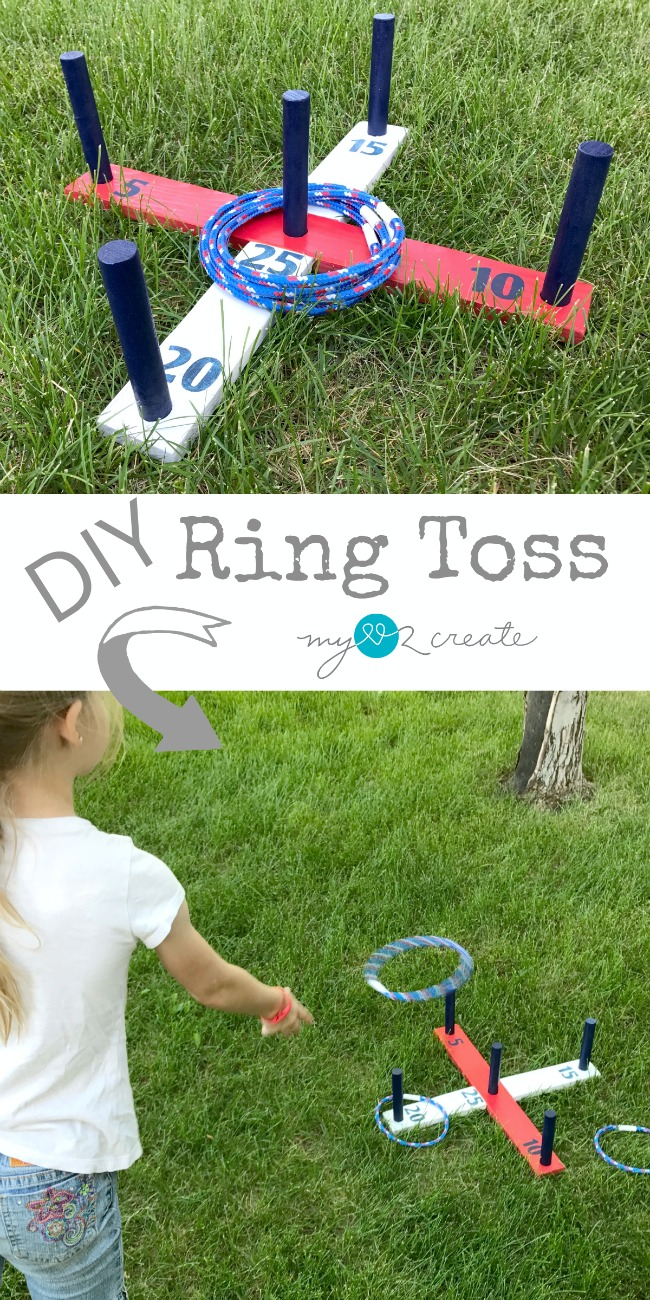 DIY Ring Toss Game, summer fun project, tutorial at MyLove2Create