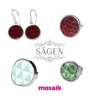 Röd eld, Harlequin och Emerald Rose porslinssmycken från Sägen på Mosaik i Luleå