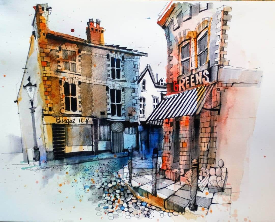 14-Oxton-Village-Ian-Fennelly-Urban-Sketches-Colorfully-Painted-www-designstack-co