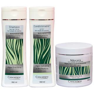 Kit Shampoo, condicionador e máscara hidratação algas