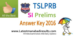 TSLPRB SI Prelims 17th April Answer Key 2016, Telangana Police SI Answer Key 2016 Question Paper, TS SI Preliminary 2016 Answer Key