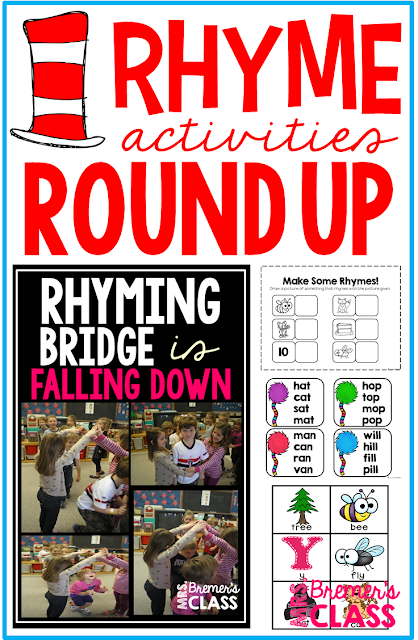 Activities to practice rhyming skills in Kindergarten and First Grade, including matching cards, dab-a-word, read the room, and a Rhyming Bridge is Falling Down class game!