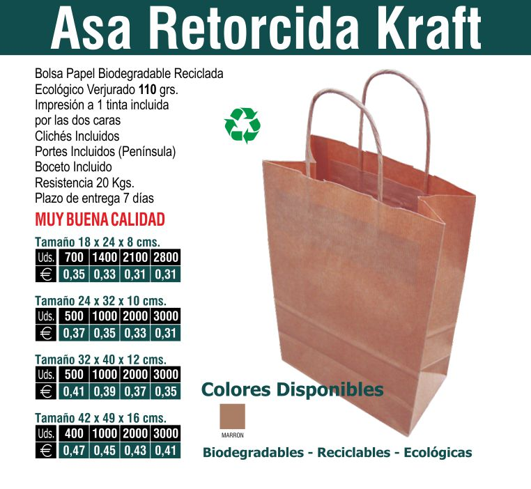 4df4cce1f Bolsa de papel asa retorcida kraft ~ Bolsas de papel personalizadas