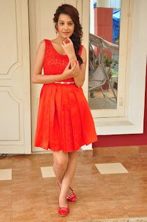 Actress Deeksha Panth Stills in Red Short Dress at Banthi Poola Janaki Press Meet  0140.jpg