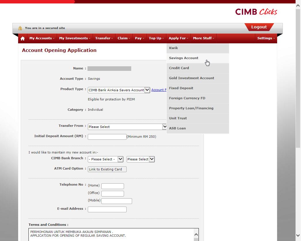 Opened a CIMB AirAsia Savers Account | Sharetisfy